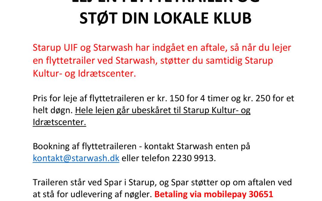 Lej en flyttetrailer og støt Starup UIF